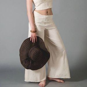 Vintage Cream Linen Wrap Pants - OSFM